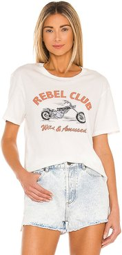 Rebel Club Short Sleeve Knit Tee in White. - size L (also in M, S, XS)