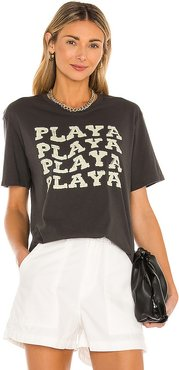 Playa Short Sleeve Knit Tee in Charcoal. - size L (also in M, S, XS)