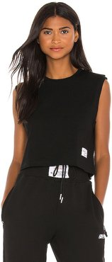 Cropped Muscle Tee in Black. - size L (also in XXS)