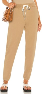 French Terry Pull On Pant in Tan. - size L (also in M, S, XS)
