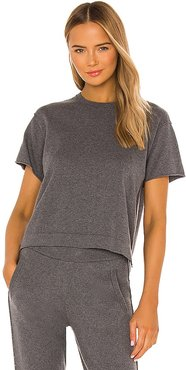 Cotton Cashmere Sweater Tee in Charcoal. - size L (also in M, S, XL, XS)