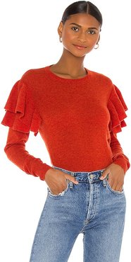 Double Ruffle Crew Sweater in Rust,Burnt Orange. - size M (also in S, XS)