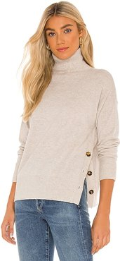 Side Buttoned Mock Sweater in Beige. - size L (also in M, XS)