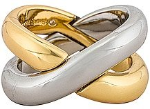 Silver and Gold X Ring in Metallic Gold. - size 7 (also in 8)