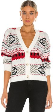 Back Country Cardigan in Ivory,Red. - size M (also in L, S, XS)