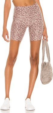 x REVOLVE Spacedye High Waisted Biker Short in Brown. - size L (also in M, S, XS)