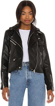 Leather With Sequin Hoodie Jacket in Black. - size L (also in M, S, XS)