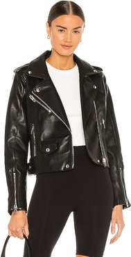 Vegan Leather Moto Jacket in Black. - size L (also in M, S, XS)