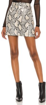 Faux Leather Bodycon Mini Skirt in Grey. - size 24 (also in 25, 26, 27, 28, 29, 30, 31)