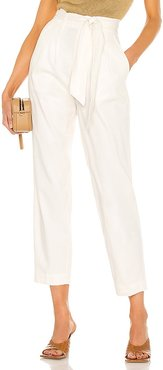 Andrei Belted Pant in White. - size L (also in M, S, XS)