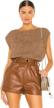Cei Sueded Ribbon Top in Brown. - size M (also in S, XS)
