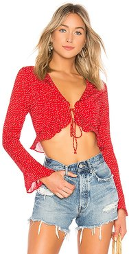 Prisca Polka Dot Tie Top in Red. - size S (also in L, XL)