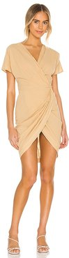 The Mini Wrap Dress in Tan. - size L (also in M, S)