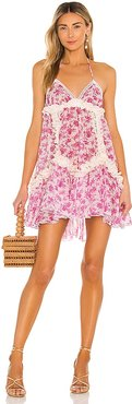 Floral Frill Short Dress in Pink. - size L (also in M, S, XS)