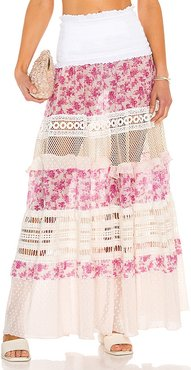 Floral Lace Maxi Skirt in Pink. - size L (also in M, S, XS)