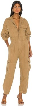 Camille Cuffed Leg Jumpsuit in Tan. - size M (also in S, XS)