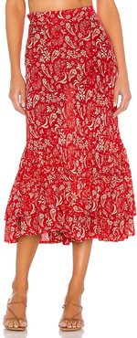 Florence Meadow Skirt in Red. - size L (also in M, XS)