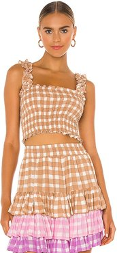 Remi Gingham Top in Brown. - size M (also in S, XS)