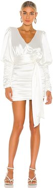 Ruched Halter Neck Tie Dress in Ivory. - size M (also in XS)