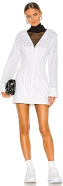 Oversized Shirting Corset Dress in White. - size L (also in M, S)