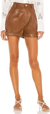 Cuffed Pleated Vegan Leather Shorts in Cognac. - size M (also in S)