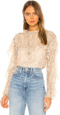 Keyhole Back Ruffle Blouse in Cream. - size L (also in S, XS)