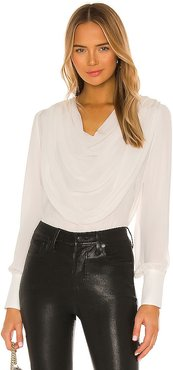 Draped Cowl Blouse in White. - size S (also in XS)