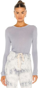 Silk Rib Bold Long Sleeve Crew Tee in Blue. - size L (also in M, S, XS)