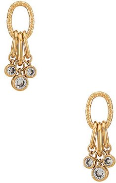 Multiple Ring & Crystal Earrings in Metallic Gold.