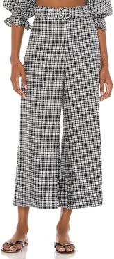 Lissandra Wide Leg Pants in Grey, White. - size L (also in S, XS)