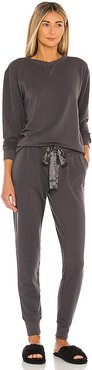 Blaire Long Lounge PJ Set in Charcoal. - size L (also in M, S, XS)