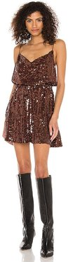 X REVOLVE Shimmerfest Mini Dress in Metallic Bronze. - size L (also in M, S, XS)
