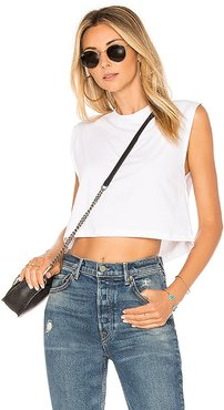 The Sleeveless Crop Tank in White. - size L (also in M, S, XS)