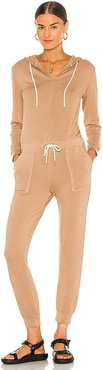 Supersoft Fleece Hooded Jumpsuit in Neutral. - size L (also in M, S, XS)