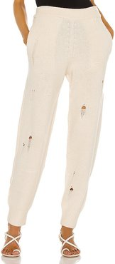 Distressed Pants in Ivory. - size L (also in M, S, XS)