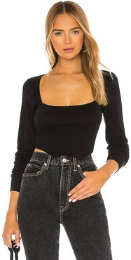 Square Neck Top in Black. - size L (also in M, S, XL, XS)