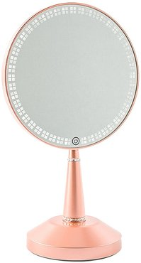 Bijou LED Hand Mirror with Charging Stand in Rose Gold.