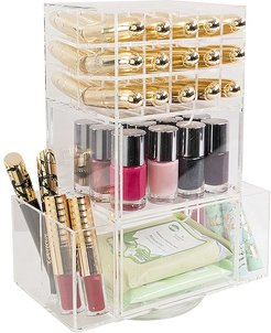 Acrylic Lipstick Spinner Tower with Drawers in Beauty: NA.