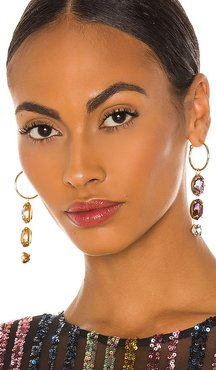 Harriet Gemstone Hoops in Metallic Gold.