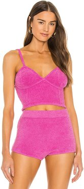 Fuzz Bra Top in Pink. - size L (also in M, S, XS)