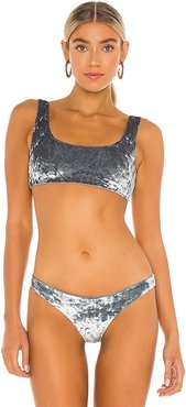 Rounded Edges Bikini Top in Grey. - size S (also in XS)