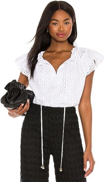 Daisy Eyelet Top in White. - size L (also in M, S, XS)