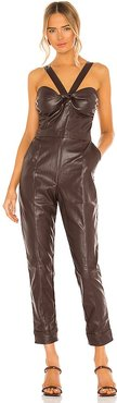 Vegan Leather Bustier Jumpsuit in Chocolate. - size S (also in XS)