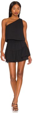 One Shoulder Ruffle Dress in Black. - size L (also in M, S, XS)