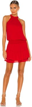 Smocked Waist Halter Mini Dress in Red. - size L (also in M, S, XS)