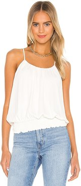 Smocked Waist Halter Tank in Ivory. - size L (also in M, S, XS)