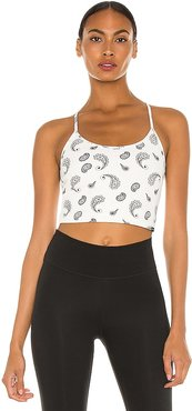 Leah Blackout Sports Bra in White. - size L (also in M, S, XS)