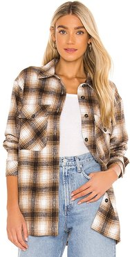 x REVOLVE Storm Plaid Shirt Jacket in Tan. - size L (also in M, S, XS)