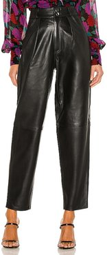 Rhye Barrel Leg Leather Pant in Black. - size L (also in M, S, XL)