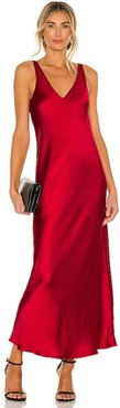 Loulou Satin Dress in Red. - size M (also in S, XS)